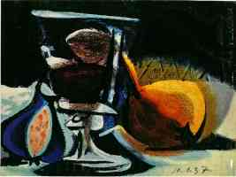 picasso 1930s still life of fruit and glass