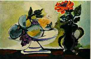 picasso 1930s still life of fruit bowl and pitcher of flowers