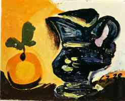 picasso 1930s still life of pitcher and orange