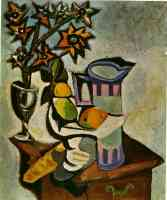picasso 1930s still life of pitcher fruit and flowers