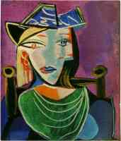 picasso 1930s woman in green and blue