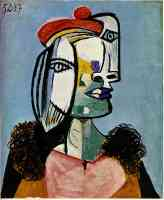 picasso 1930s woman in red pom pom hat