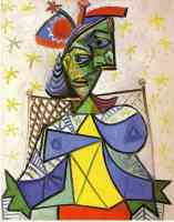 picasso 1930s woman sitting in the blue and red hat