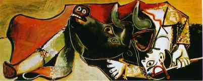 picasso 1950s bullfighting scene with the bullfighter ready
