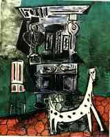 picasso 1950s henri ii buffet with dog and chair