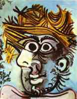 picasso 1960s head of a man in a straw hat