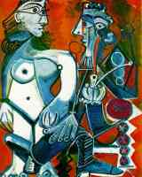 picasso 1960s nude woman standing next to man with a pipe