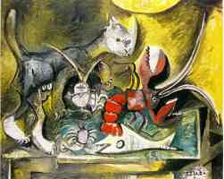 picasso 1960s still life of cat and lobster