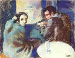 picasso blue period scene at the cabaret