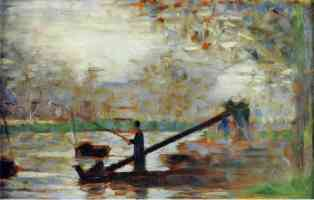 georges seurat post impressionist man fishing from a moored boat