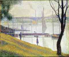 georges seurat post impressionist the bridge at courbevoie